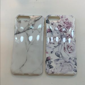 iphone 7+ case, floral and marble